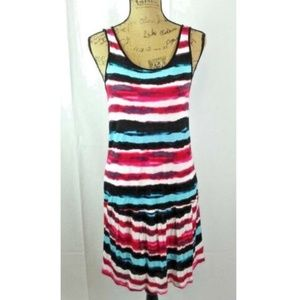 Kensie Striped Colorful Criss Cross Back Sun Dress
